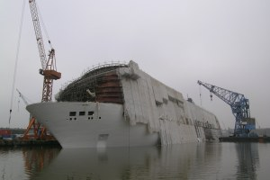 The sunk Pride of America at Lloyd Werft